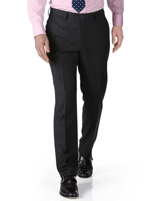 Charcoal extra slim fit twill business suit pants