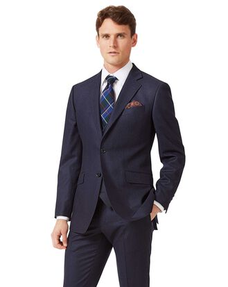 Navy stripe slim fit flannel business suit jacket