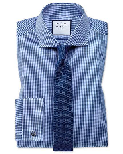 Chemise bleu roi super slim fit à motif pied-de-poule et col cutaway sans repassage