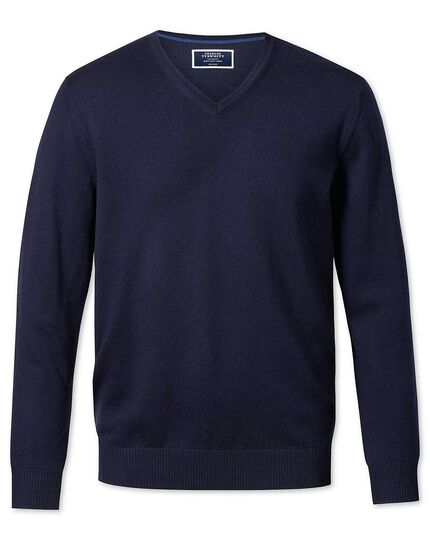 Navy merino wool v-neck sweater