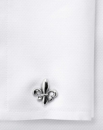 Fleur-de-Lys silver plated cufflinks