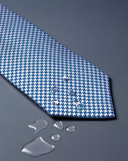 Royal blue silk stain resistant puppytooth classic tie