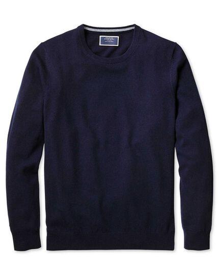 Navy crew neck cashmere sweater