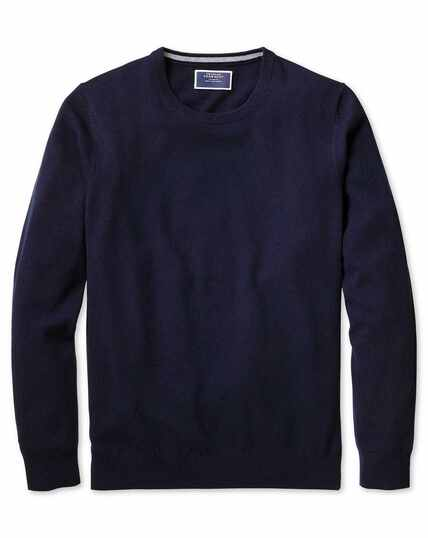 Navy crew neck cashmere jumper