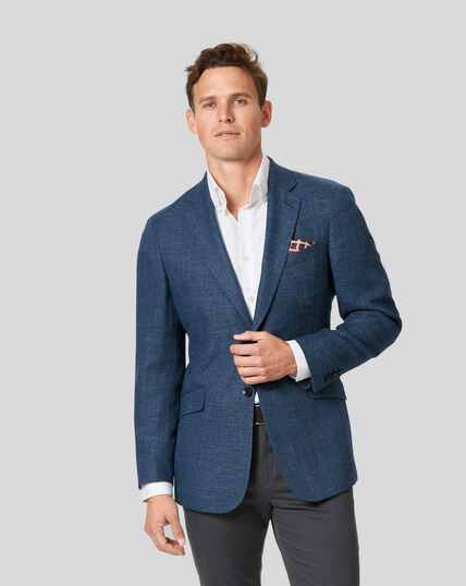Basketweave Textured Jacket - Mid Blue