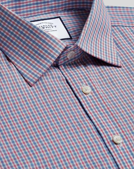 Chemise bleue et rouge en popeline coupe droite sans repassage