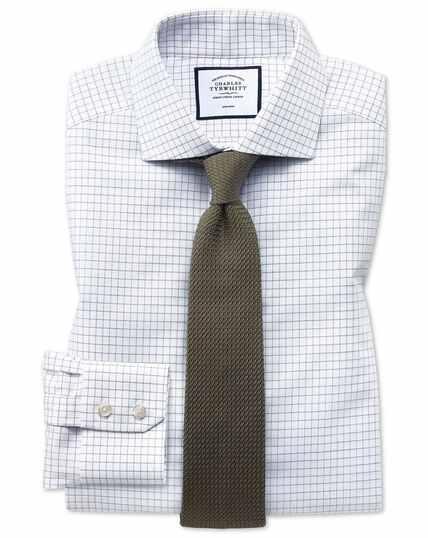 Extra slim fit non-iron cutaway collar navy fine check shirt