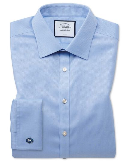 Super slim fit non-iron sky blue triangle weave shirt