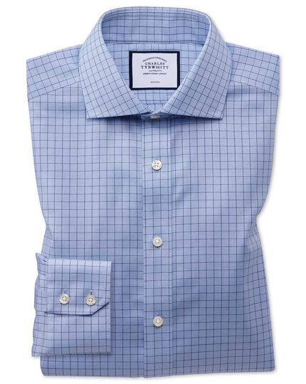 Non-Iron Cotton Stretch Oxford Grid Check Shirt - Blue