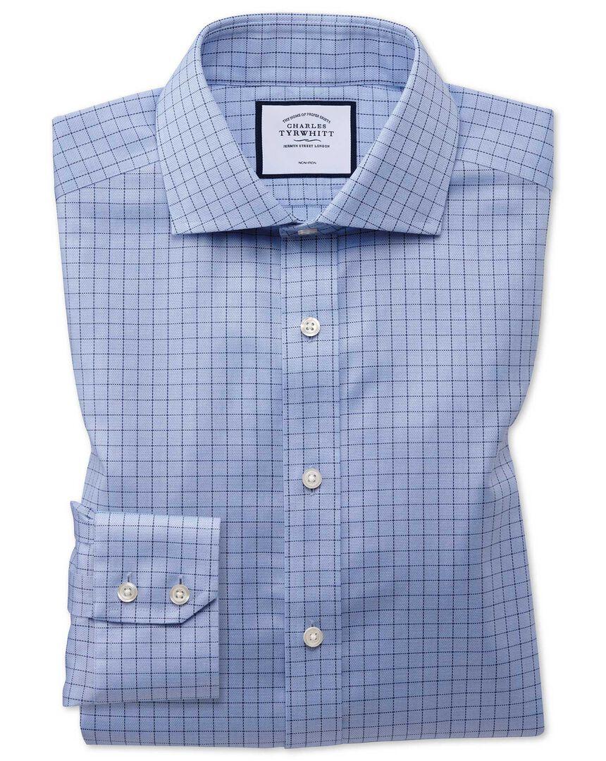 Slim fit non-iron cotton stretch Oxford grid check blue shirt