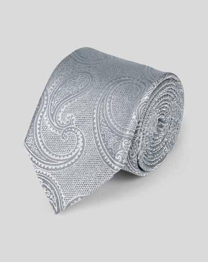 Cravate classique en soie à motif cachemire ton sur ton - Argent