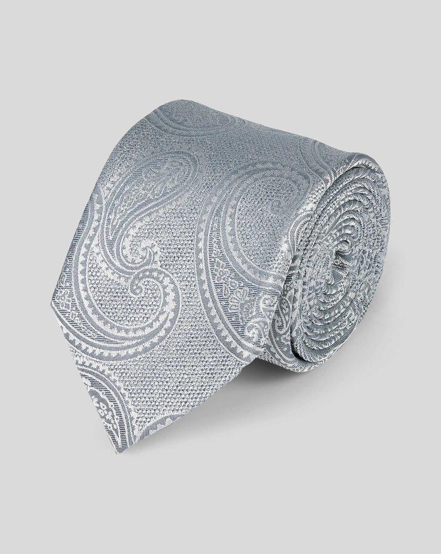 Silk Tonal Paisley Classic Tie - Silver