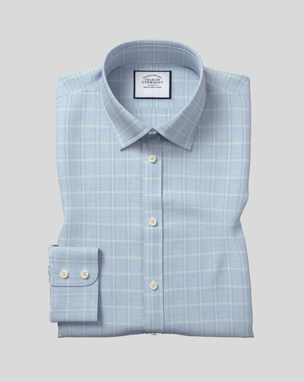 Classic Collar Egyptian Cotton Herringbone Shirt - Blue & Green