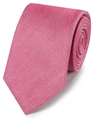 Dark pink linen silk plain classic tie