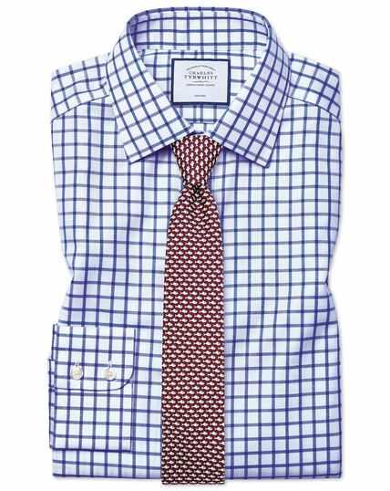 Extra slim fit non-iron royal blue grid check twill shirt