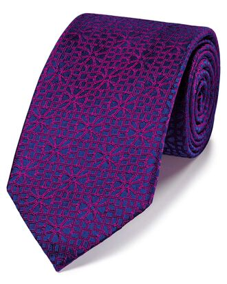 Magenta silk geometric English luxury tie