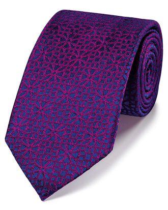 Cravate de luxe magenta en soie anglaise à imprimé géométrique