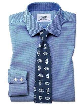Classic fit non-iron square weave blue shirt