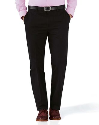 Bügelfreie Slim Fit Chino Hose ohne Bundfalte in Schwarz