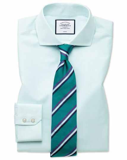 Classic fit non-iron Tyrwhitt Cool poplin aqua stripe shirt