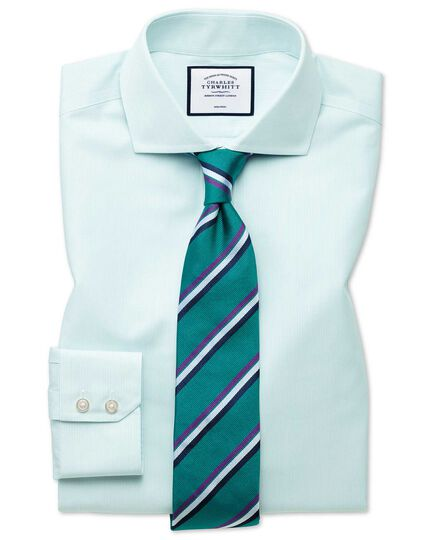 Classic fit non-iron Tyrwhitt Cool poplin aqua stripe shirt