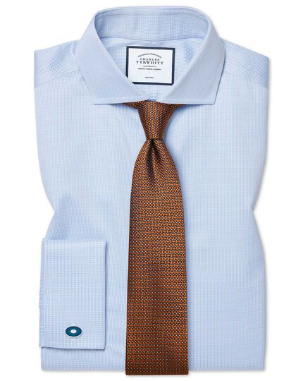 Slim fit cutaway non-iron puppytooth sky blue shirt