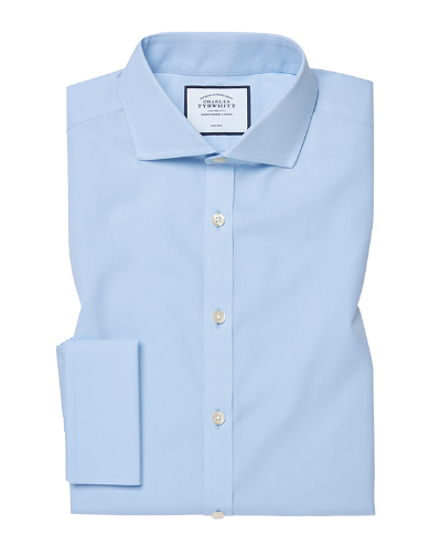 Slim fit sky blue non-iron twill cutaway collar shirt