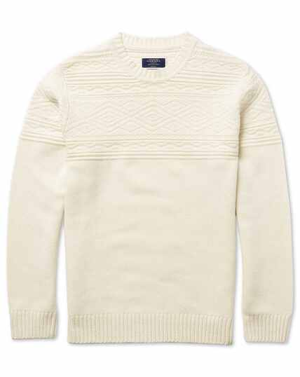 Winter white jacquard Fairisle crew neck jumper