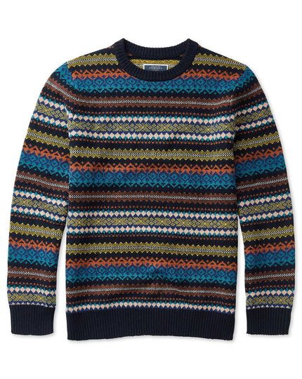 Orange and multi Fairisle crew neck jumper