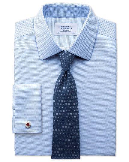 Classic fit non-iron textured herringbone blue shirt