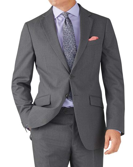 Silver slim fit crepe business suit jacket