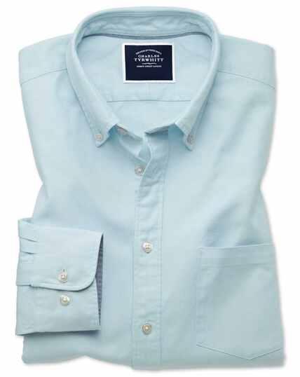 Chemise vert clair unie en oxford délavé coupe droite à col boutonné