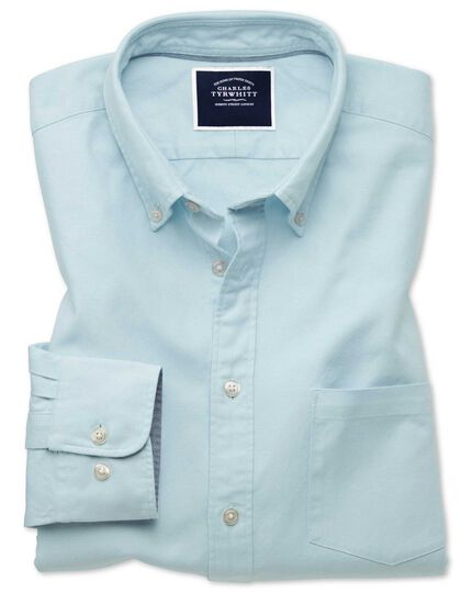 Slim Fit Oxfordhemd mit Button-down-Kragen Einfarbig in Hellgrün