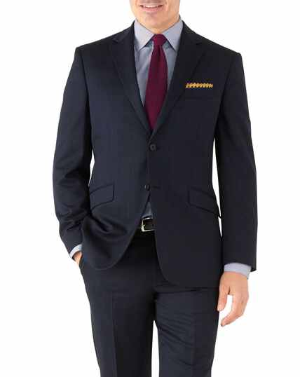 Veste de costume business bleu marine avec motif milleraies et coupe droite