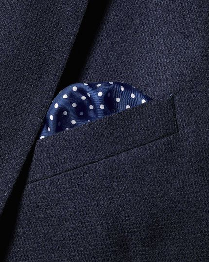 2-in-1 Silk Face Mask & Pocket Square - Blue & White