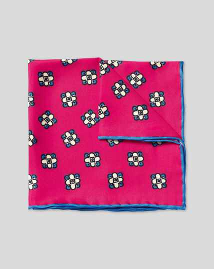 Floral Geometic Print Pocket Square - Bright Pink & Blue