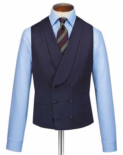 Italian Twill Suit Vest - Navy