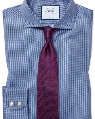 Slim fit cutaway non-iron puppytooth royal blue shirt