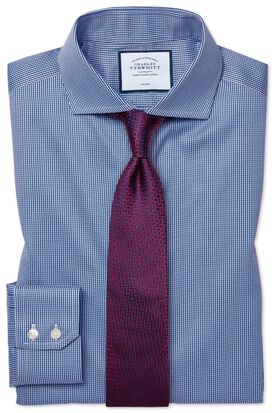 Slim fit spread collar non-iron puppytooth royal blue shirt