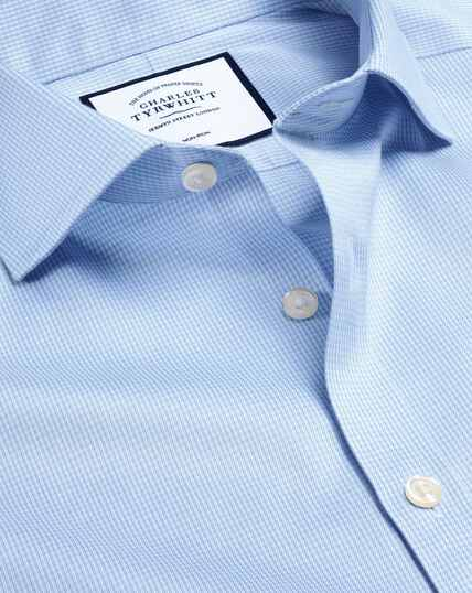 Spread Collar Non-Iron Puppytooth Shirt  - Sky
