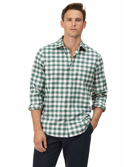 Slim fit soft washed non-iron stretch Oxford green and white check shirt