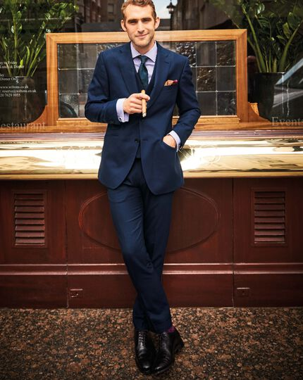 Navy slim fit British serge luxury suit trousers