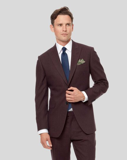 Semi-Plain Suit Jacket - Aubergine