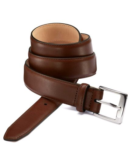 Brown leather formal belt