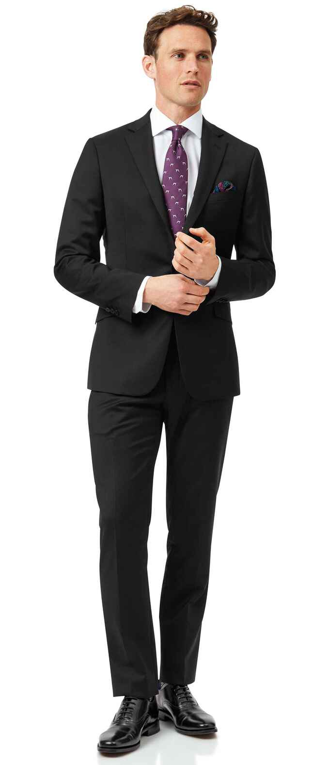 Black extra slim fit Italian natural stretch suit