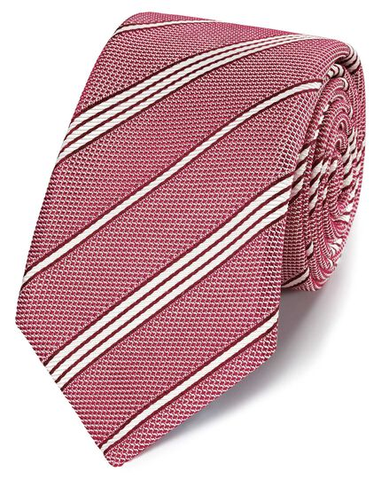 Red silk grenadine stripe italian luxury tie