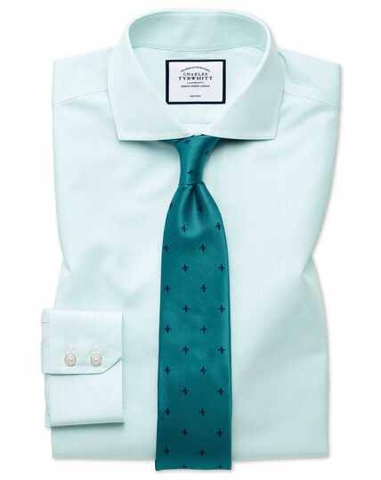 Extra slim fit non-iron Tyrwhitt Cool poplin aqua stripe shirt
