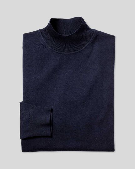 Merino Mock Turtle Neck Sweater - Navy