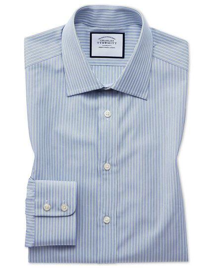 Classic Fit Popelinehemd aus ägyptische Baumwolle mit feinen Streifen in Blau & Grün