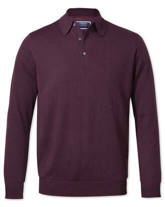 Wine polo collar merino jumper